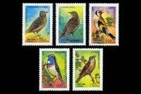 Почтовые марки - певчие птицы России.